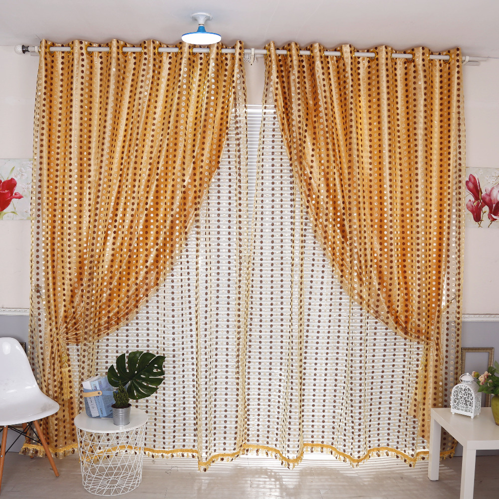 Beaded window panels - Latest 2pcs Lot Luxury Golden Point Sheer Beads Window Curtain For Living Room Tulle Cortinas