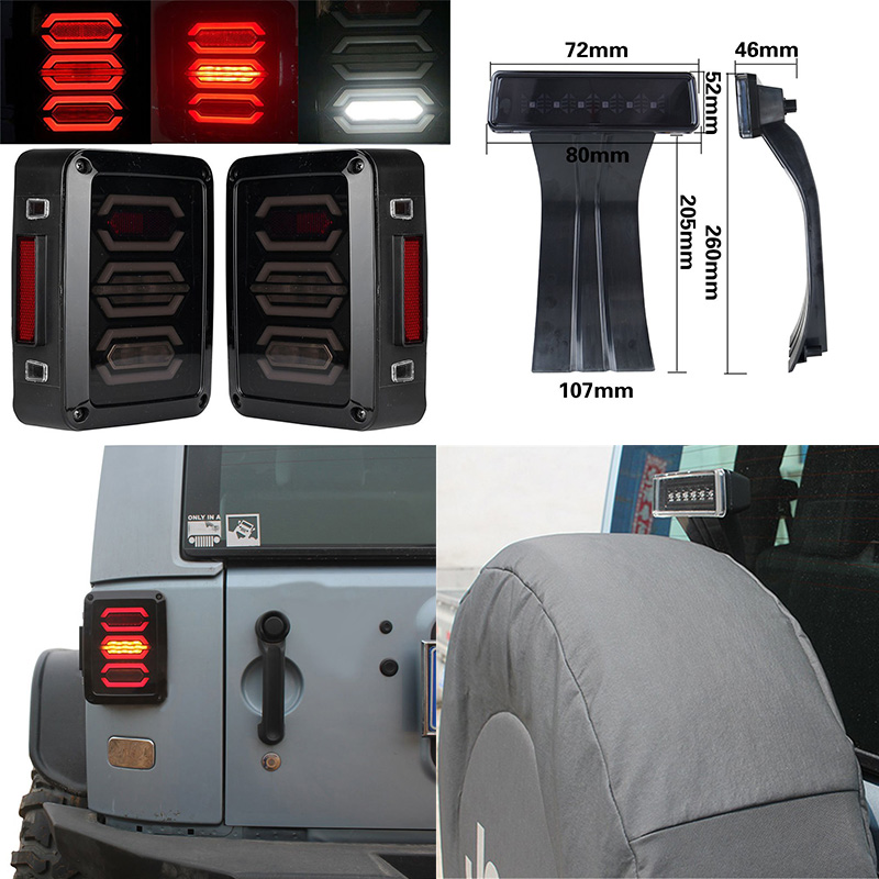 Smoke LENS LED Tail light w/Turn signal & Back Up & Smoke 3rd Third led brake light Assembly for jeep wrangler JK 07-15 for jeep wrangler jk 2007 2016 tail light diamond smoke led tail light