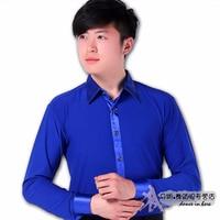 Man Ballroom Dance Tops Blue Men Dance Shirt Professional Performance Cha Cha/Rumba/Samba/Latin Dance Shirt Dance Wear DQ15011