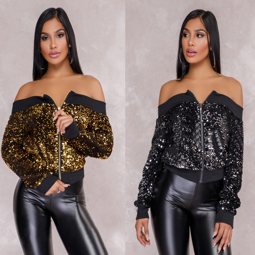 2018 long sleeve off shoulder thick autumn winter Sequined Zipper coat black gold sexy party clubwear Patchwork   basic     jacket   hot