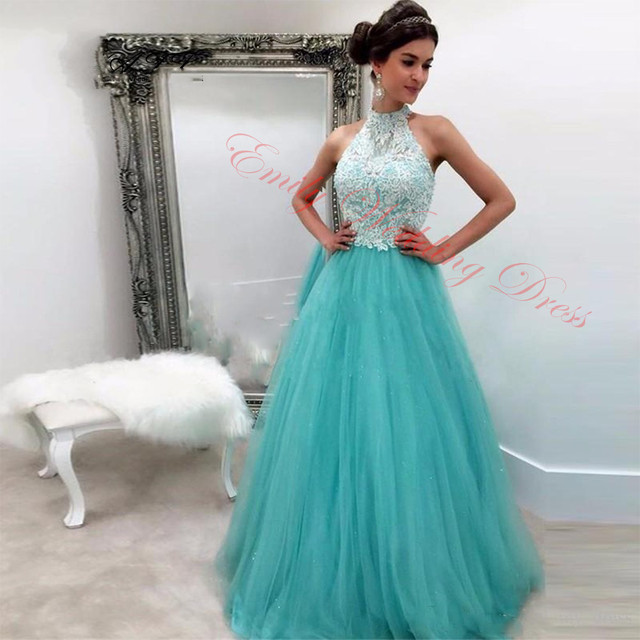 Mint Green Halter Neck Lace Prom Dresses Custom Size Couture Fashion Long Formal Party Gowns Graduation