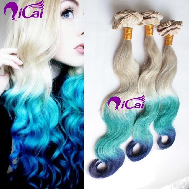 Cheap Ombre Blonde Green Blue Clip In Hair Unprocessed Brazilian