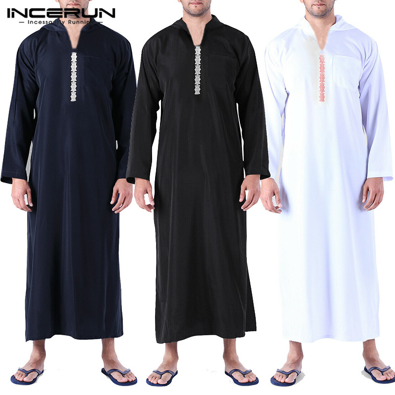 INCERUN Men Islamic Arab Muslim Kaftan Abaya Hooded Long Sleeve Retro Loose Robes 2020 Saudi Arabia Dubai Jubba Thobe Men Caftan