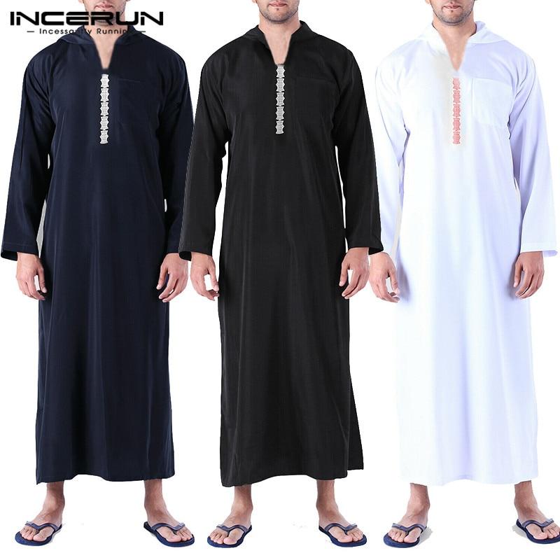 INCERUN Men Islamic Arab Muslim Kaftan Abaya Hooded Long Sleeve Retro Loose Robes 2020 Saudi Arabia Dubai Jubba Thobe Men Caftan