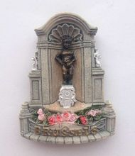 Flower Market In Brussels landmark – Golden Manneken Pis 3D Fridge Magnets Travel Souvenir Refrigerator Magnetic Stickers