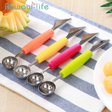 5Pcs Double Head Stainless Steel Watermelon Digging Ball Spoon Kitchen Cut Carving Knife Fruit