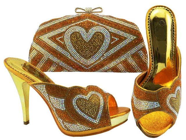 Hot sale gold women pumps with heart pattern rhinestone bag for dress african shoes match handbag set JZC005
