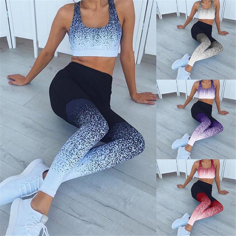 Impresso das mulheres de Cintura Alta Calça Esporte Leggings de Fitness Yoga Execução Collants Empurrar Hip Sportswear Corredores Feminino Leggings Em Execução