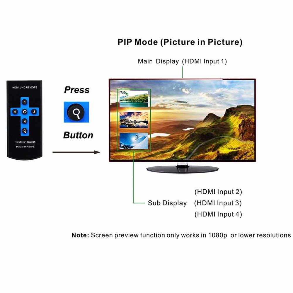 Mini 4K 4 Port HDMI PIP Switch 4x1 HDMI Switch PIP Support Picture-In-Picture Switch HDMI PIP With IR Remote Control For PS4