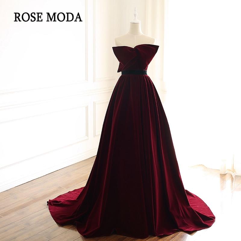 Rose Moda Burgundy Long Prom Dresses 2019 with Train Velvet Formal Party Dress Custom Make Real
