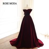 Rose Moda Burgundy Long Prom Dresses 2019 with Train Velvet Formal Party Dress Custom Make Real Photos