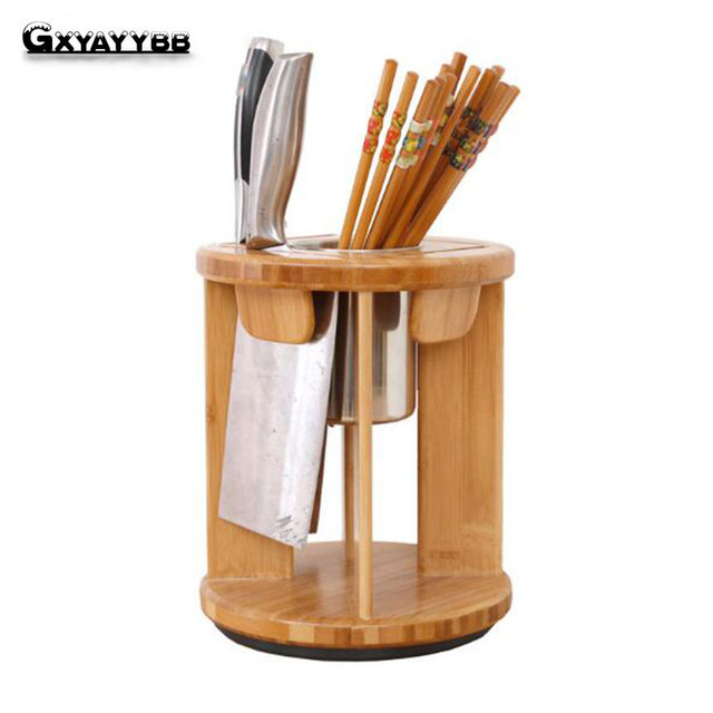 Be Rotated Bamboo Kitchen Knife Holder Multifunctional Kitchen Accessories  Storage Rack Tool Holder Wood Knife Stand