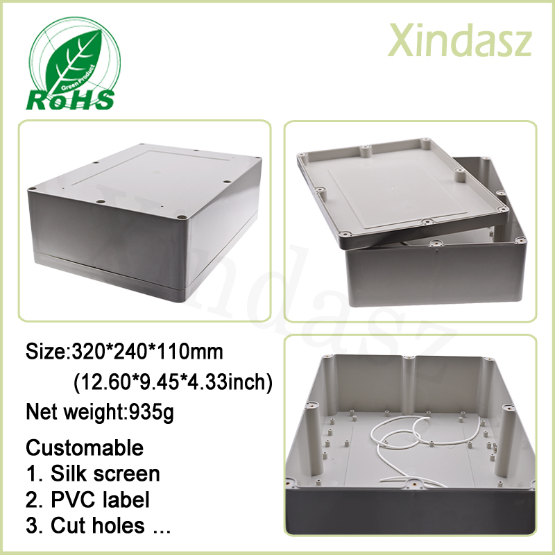 320*240*110mm Large waterproof electronic project box plastic box plastic electronic enclosure все цены