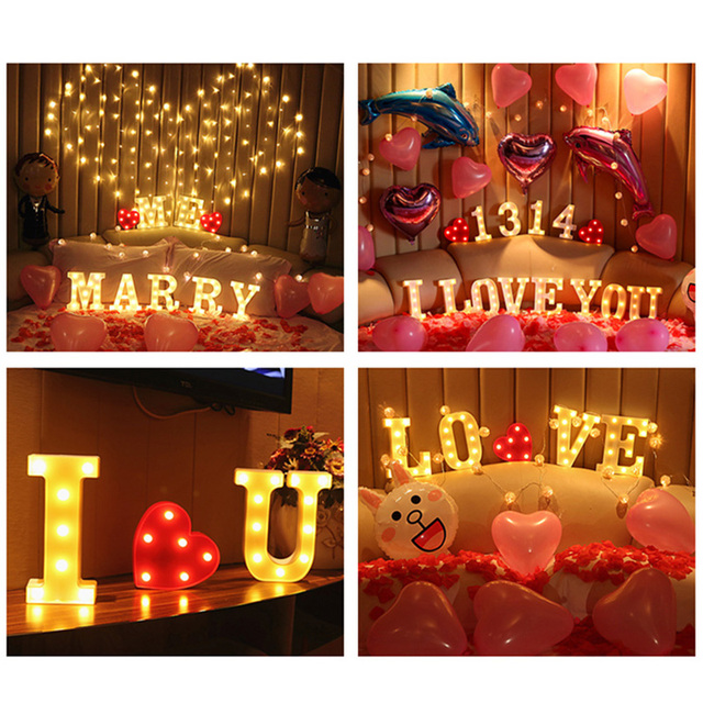 Luminous LED Letter Night Light English Alphabet Number Lamp Wedding Party Decoration Christmas Home Decoration Accessories 3