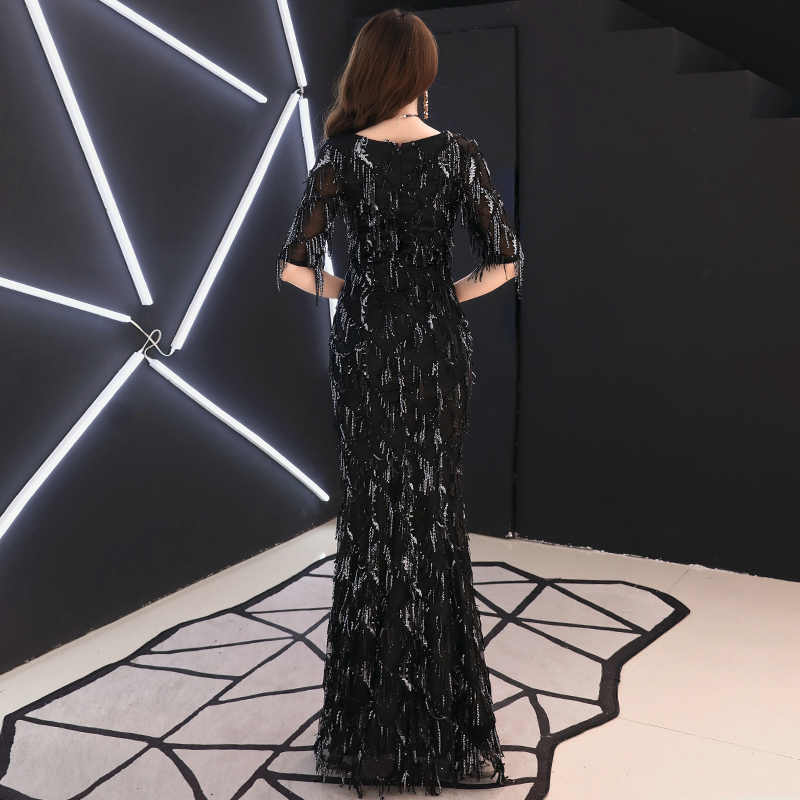 ... weiyin 2019 Saudi Arabic Black Sequins Mermaid Evening Dress Half  Sleeves O-neck Elegant Women ... c7237afc89ab