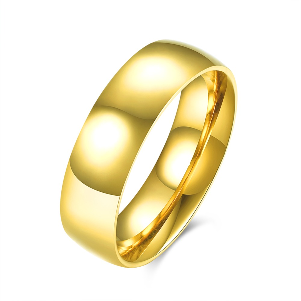 Fashion New Arrival Gold Color Simple Korea Style Trendy Titanium Steel Man Ring  Big Wedding Bands