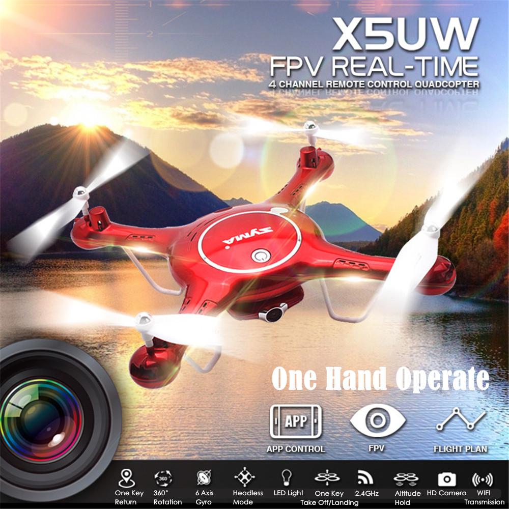 SYMA X5UW Drone with 720P HD WiFi Camera Real-time Transmission FPV Quadcopter 2.4G 4CH RC Helicopter UAV Quadrocopter Toys 2016 syma x5hw 2 4g 4ch fpv drone with camera hd wifi real time transmission aerial quadcopter 3d roll vs syma x8c fast shipping