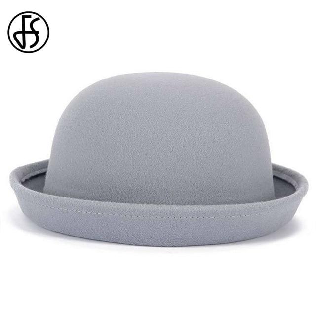 FS 13 Colros Short Brim Women And Men Felt Cloche Hat Fedora Autumn Winter Vintage  Dome Fedoras Unisex Bowler Hats Round Caps d9bd465d924b