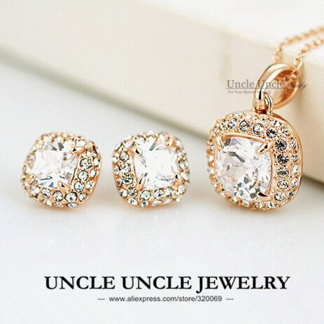 Classic Style!!! Rose Gold Plated Princess Cut Square Zirconia Wedding Lady Jewelry Set Necklace/Earring Wholesale 18krgp