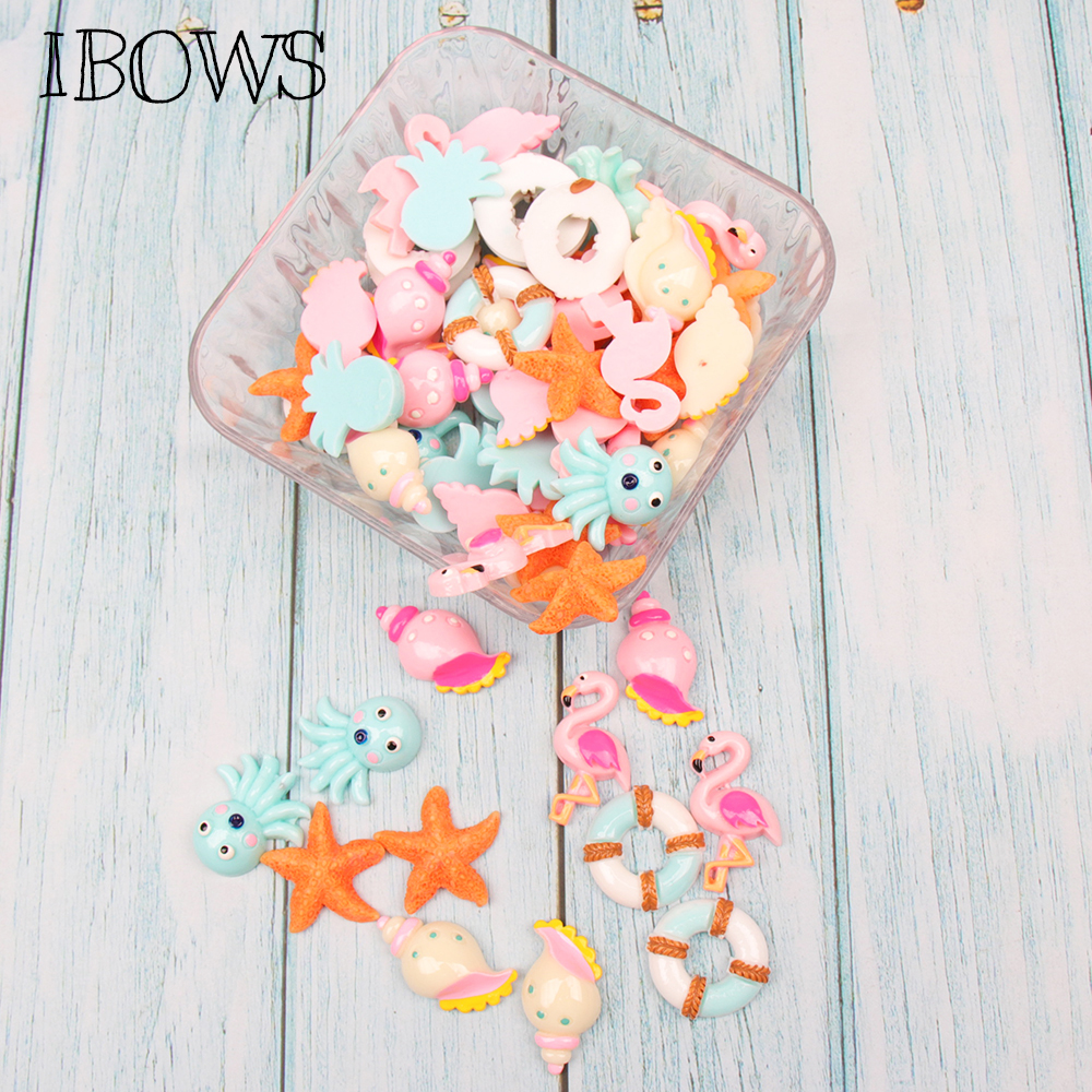 IBOWS 10pcs/lot Cabochons Flat Back Resin Flamingo Starfish Resins For DIY Jewelry Hair Bows Clips Accessories Phone Decoration