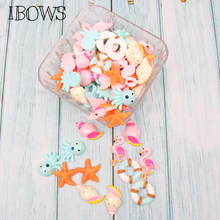 IBOWS 10pcs/lot Cabochons Flat Back Resin Flamingo Starfish Resins for DIY Jewelry Hair Bows Clips Accessories Phone Decoration(China)
