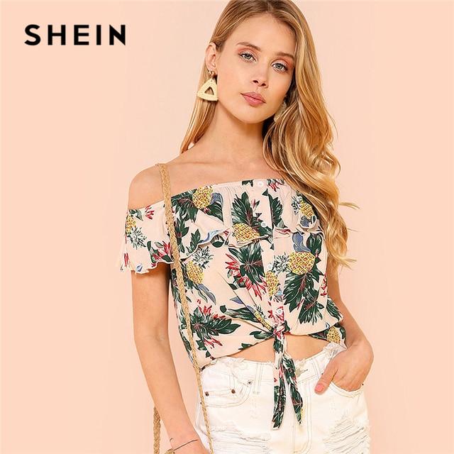 fe6abb12d4 SHEIN Multicolor Vacation Bohe Bohemian Beach Button Up Knot Front Tropical  Flounce Bardot Blouse Summer Women Casual Shirt Top