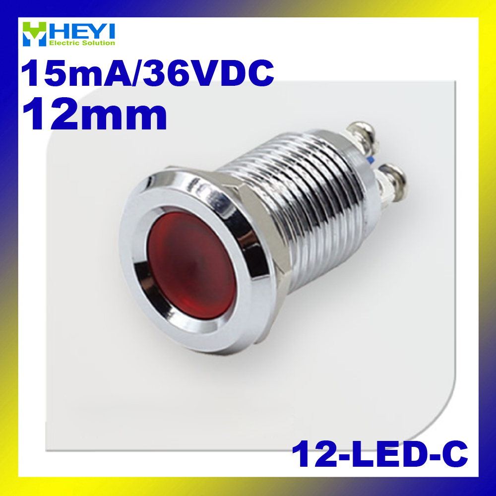 LED Metall Indicator Light 12 C Messing Vernickelt 12mm 6 V