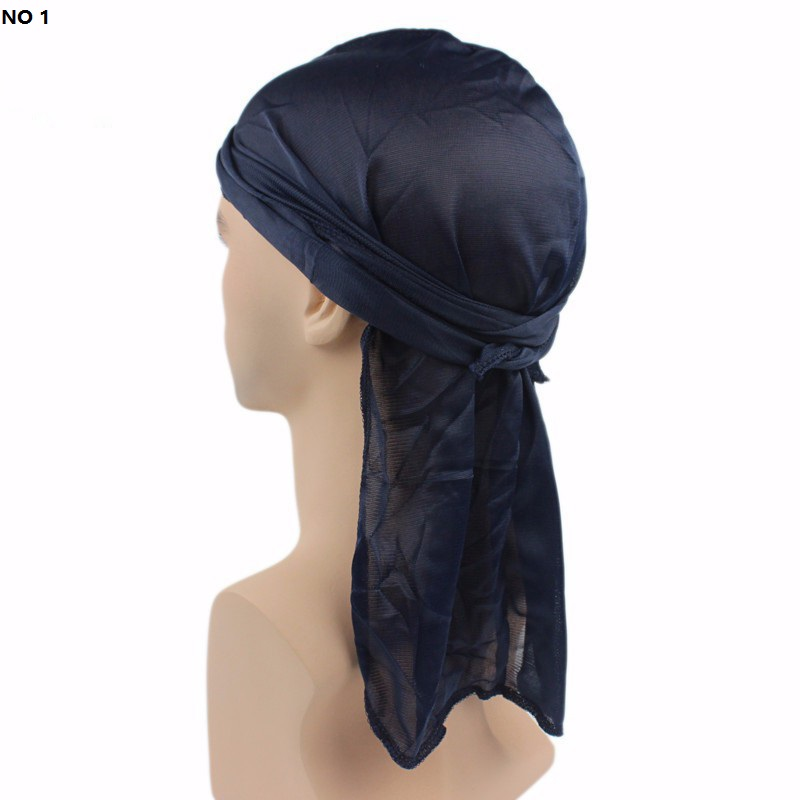 2018 Men Headband Polyester Warp Cloth Long Tail Baotou Pirate Hat Chemotherapy Cap TJM-06 Boy Hair Accessories Free Shipping ...