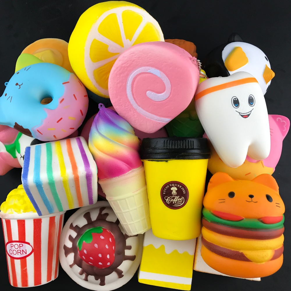10pcs/lot squishy slow rising squeeze toy Jumbo Cartoon Cat Hamburger squishies anti stress Soft Decompression Fun Toys Relax