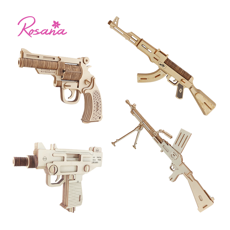 Rosana Wooden Model Kit Children Assemble Model Military Weapon Gun Pistol Jigsaw Toy Wood Puzzles Birthday Gift For Children