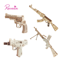 Rosana Wooden Model Kit Children Assemble Military Weapon Gun Pistol Jigsaw Toy Wood Puzzles Birthday Gift for