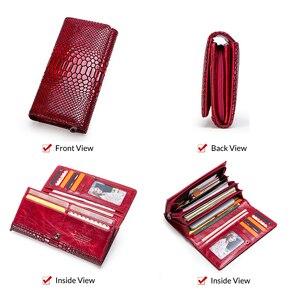 Image 5 - Contact en cuir véritable portefeuille femmes longue pochette moraillon femme porte monnaie rfid porte carte portefeuilles pour femmes portfel damski