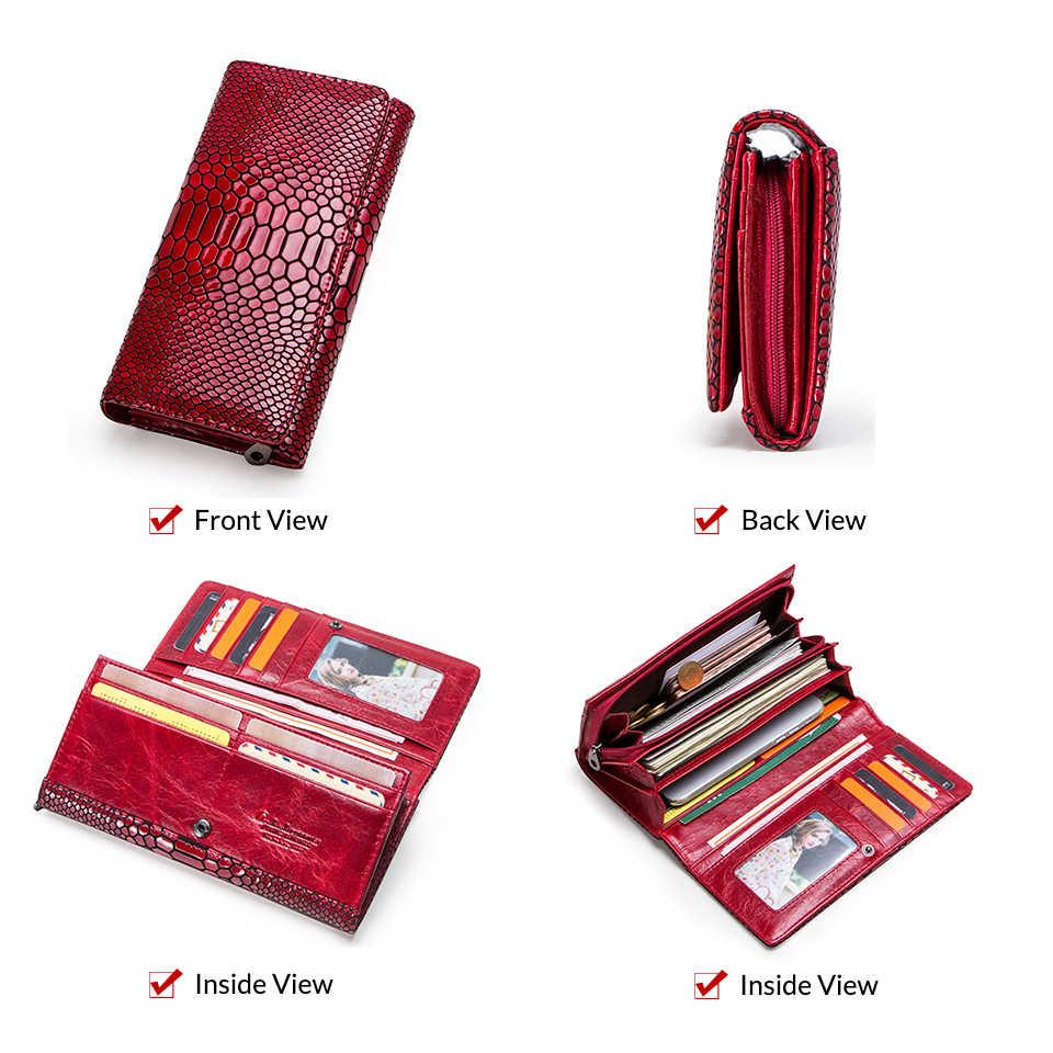 Iletişim yeni kadın cüzdan hakiki deri uzun debriyaj serpantin tasarım inek derisi cüzdan yüksek kalite moda kadın çanta