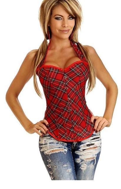 Сексуальная Школьница Красный Плед Шаблон Ремни Корсет И Бюстье Топ женская Холтер Шеи Overbust Корсет С-Стринги S-2XL W580841