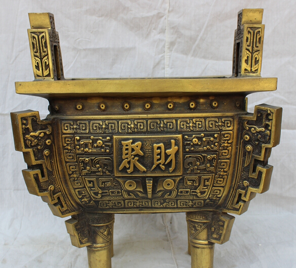 """Ev ve Bahçe'ten Statü ve Heykelleri'de JP S0114 15 """"Tibet Bronz Halk Budist Ejderha Başkanı Heykeli Ding Tütsü Burner Buhurluk title="""