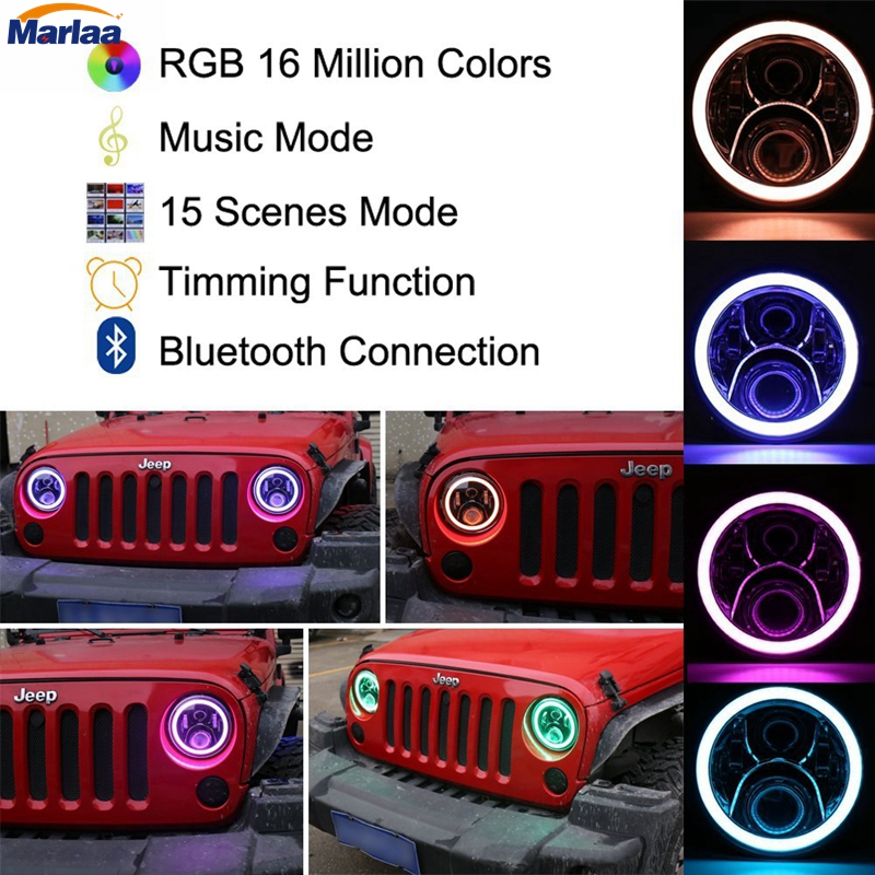 Pair 7inch Jeeps Wrangler RGB Halo LED Headlights Kit 50W with Bluetooth Remote Angel Eyes for Jeep Wrangler JK LJ Hunmmer H1 H2 hot sale 7 inch led headlights kit rgb with bluetooth remote halo ring angel eyes for jeep wrangler 1997 2017 jk tj cj