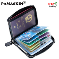 PAMASKIN Marka 2017 RFID Koruma Unisex Seyahat Pasaport Kapağı Engelleme Tasarımcı Banka Kredi ve KIMLIK Kartı PVC Tutucu Cüzdanlar