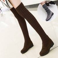 SWYIVY Women Square Heel Over The Knee High Boots Flat Heel Women Boot Knitted Black Thigh