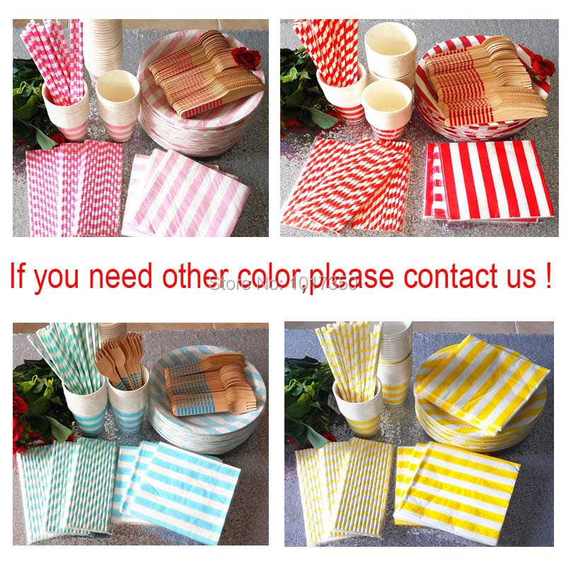 pink black stripe holiday tableware disposable paper plate cups straws napkins cutlery set wedding decor party - Decorative Paper Plates