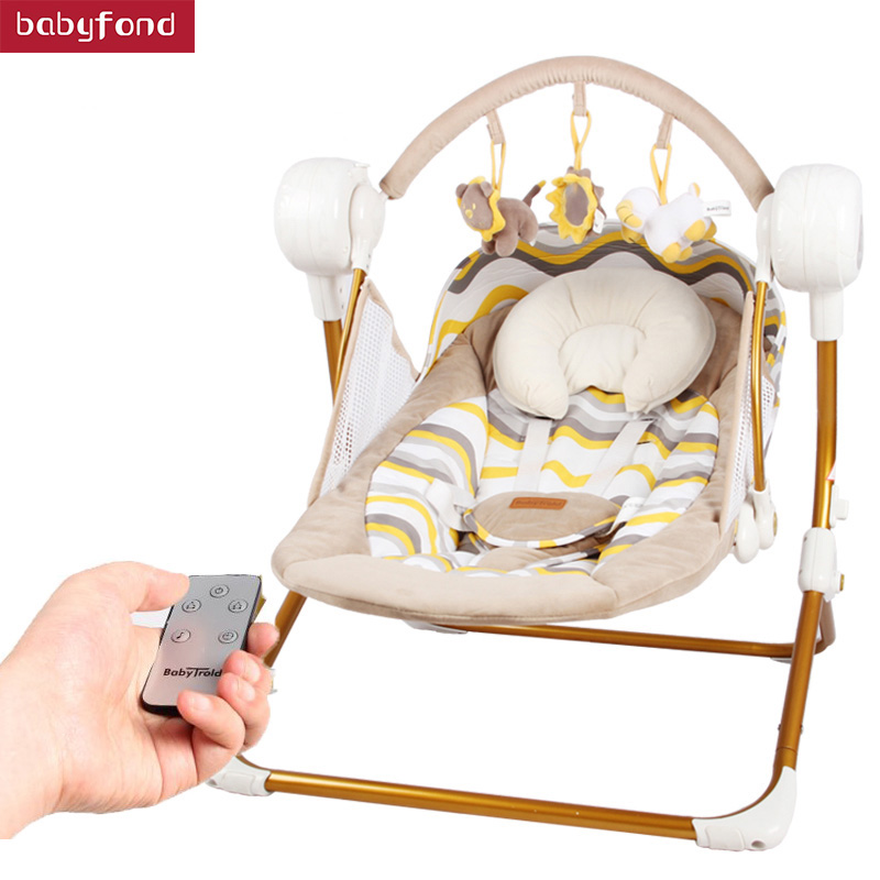 Newborn Brand Cradle Electric Music Rocking Chair Automatic swing Sleeping Basket Golden Frame 8GB Bluetooth USB 0-18 month UseNewborn Brand Cradle Electric Music Rocking Chair Automatic swing Sleeping Basket Golden Frame 8GB Bluetooth USB 0-18 month Use