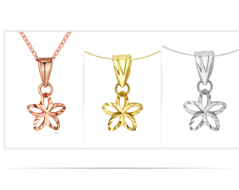 18K Pure Gold Pendant Real AU 750 Solid Gold Charm Necklace Beautiful Flowers Upscale Trendy Classic Party Fine Jewelry
