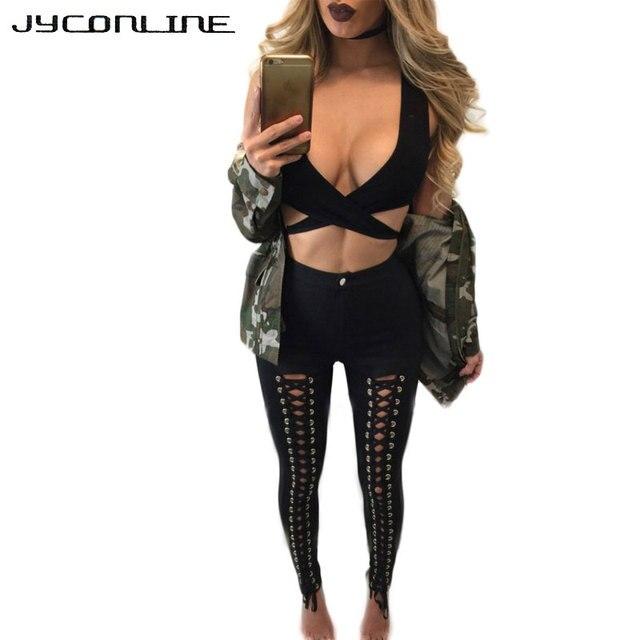 JYConline Plus Size Leggings Women 2017 Autumn Winter High Waist Pants Hollow Out Elastic Skinny Leggins Fitness Women Leggings