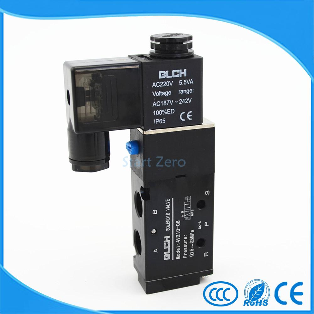 Black Pneumatic Solenoid Air Valve 5 Way 2 Position 4V210-08 blch