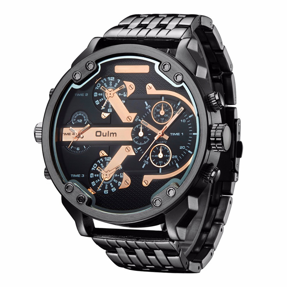 Oulm 3548 Men Dual-movt Japan Quartz Watch with Big Dial Stainless Steel Band Analog Sport Watch Vintage watch relogio masculino new mechanical hollow watches men top brand luxury shenhua flywheel automatic skeleton watch men tourbillon wrist watch for men