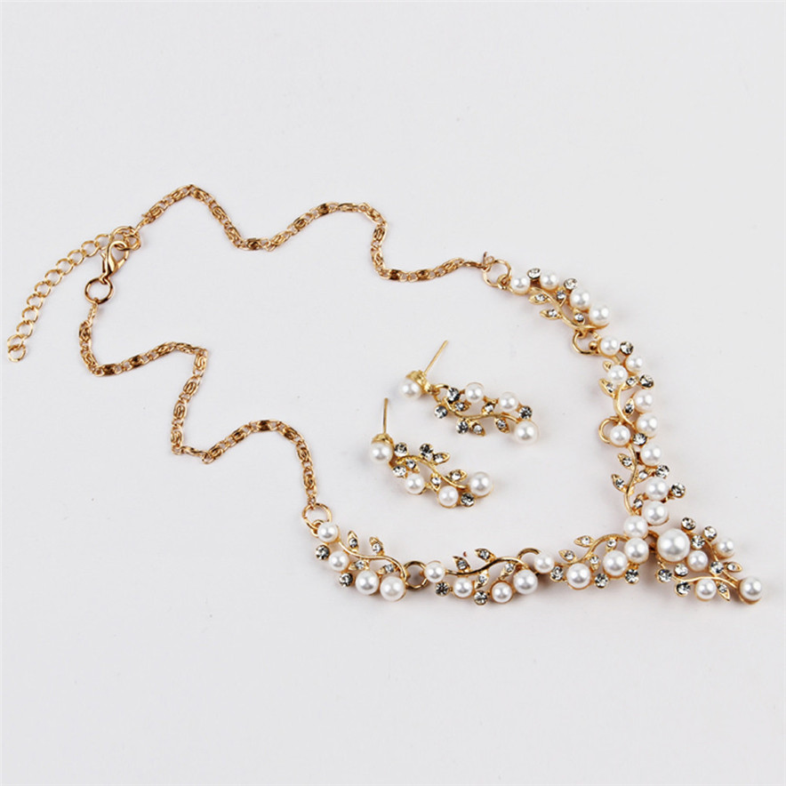 Diomedes Lady Wedding Pearl Rhinestone Short Necklace Earrings Jewelry Set#30
