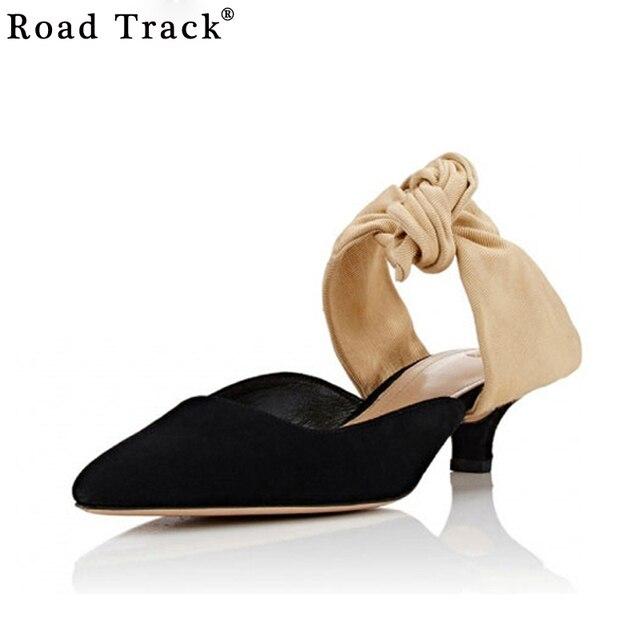 Road Track Women Sandals Slingback Pointed Toe Bowtie Kitten Heels ...