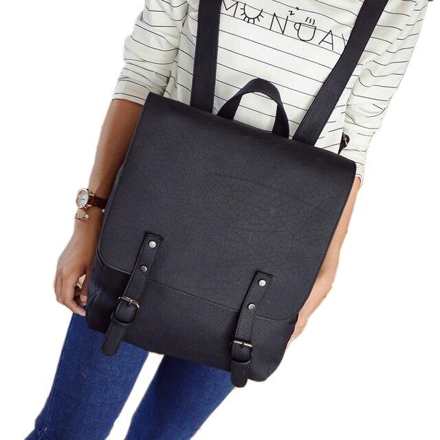 Fashion Women PU Leather Backpack School Bag Travel Bookbag Casual ...