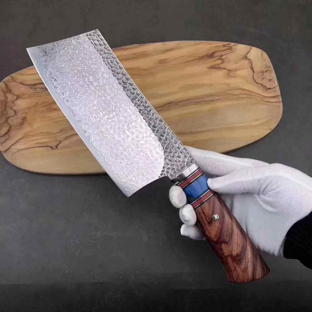 Deng knife High-grade Chopping Knife - Damascus Aus-10 HC Stainless Steel Kitchen Meat Cleaver Knife with Ergonomic Handle