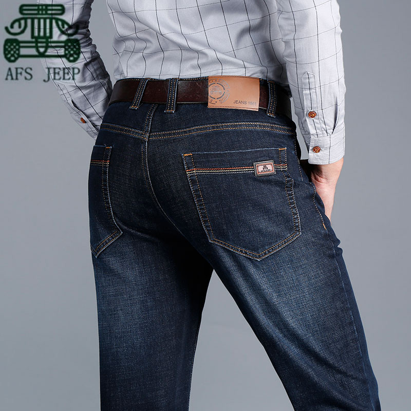 ФОТО AFS JEEP Wholesale Price Man's Mid Waist Cotton Leisure Jeans,Wholesale Price New Design Males Casual Plus Size Soft Denim Pant