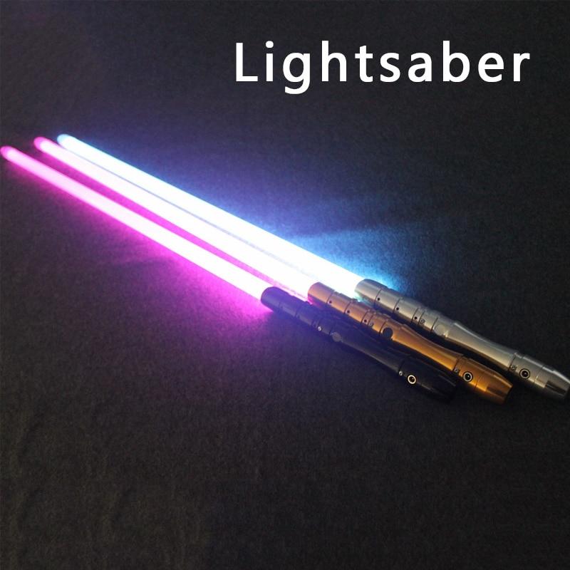 2018 nuevo 1 pieza Cosplay sable unids de luz con luz de sonido LED juguetes negro dorado plata luz sable espada parpadeante Regalo de Cumpleaños LukeToy